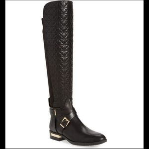 Vince Camuto Patira Black Over Knee Quilted Boots